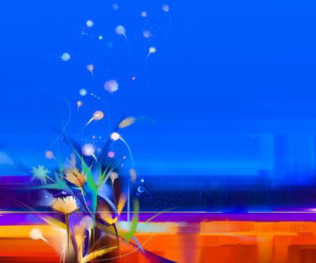 Abstrakte bunte Ölgemälde Landschaft auf Leinwand. Semi- abstraktes Bild von Blumen in Wiesen (Feld) und blauer Himmel. Frühling Saison Natur Hintergrund
