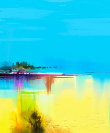 Abstracte kleurrijke olieverf landschap op canvas. Semi- abstract beeld van de boom en geel veld met zonlicht en blauwe hemel. Lente seizoen natuur achtergrond