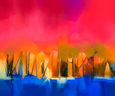 pintura abstracta: Paisaje abstracto pintura al óleo sobre lienzo de colores. Semi imagen abstracta de árbol y el cielo rojo. temporada de primavera naturaleza de fondo