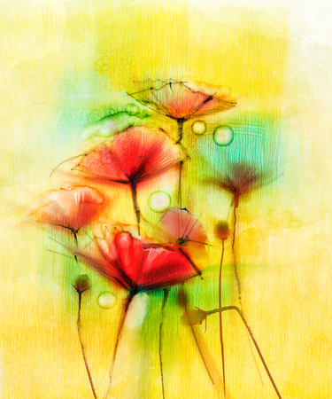 papaver: Watercolor red poppy flowers painting. Flower paint in soft color and blur style, Soft yellow green background. Spring floral seasonal nature background
