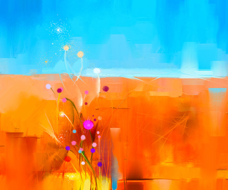 キャンバスにカラフルな油絵風景を抽象化します。メドウズ (フィールド) と青い空の花の半抽象的なイメージ。春の季節、自然の背景