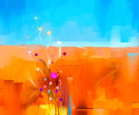 Abstract kleurrijk olieverfschilderij landschap op canvas. Semi-abstracte afbeelding van bloemen in weiden (veld) en blauwe lucht. Lente seizoen natuur achtergrond