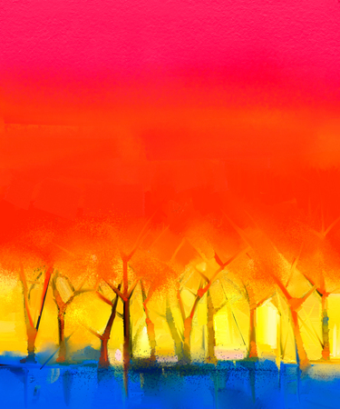 Abstract colorful oil painting landscape on canvas. Semi- abstract image of tree and red sky. Spring season nature background 写真素材