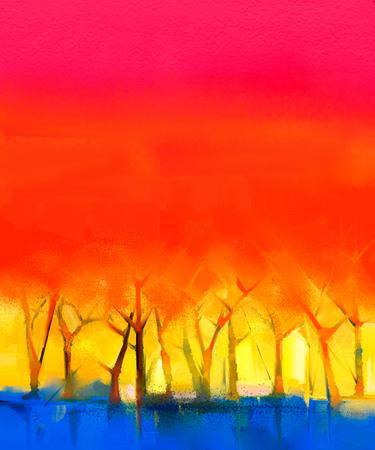 캔버스에 추상 다채로운 유화 풍경입니다. 나무와 붉은 하늘의 반 추상적 인 이미지. 봄 시즌 자연 배경