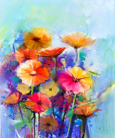 gerbera: Abstract floral watercolor painting. Hand paint White, Yellow, Pink and Red color of daisy- gerbera flowers in soft color on blue- green color background.Spring flower seasonal nature background Stock Photo