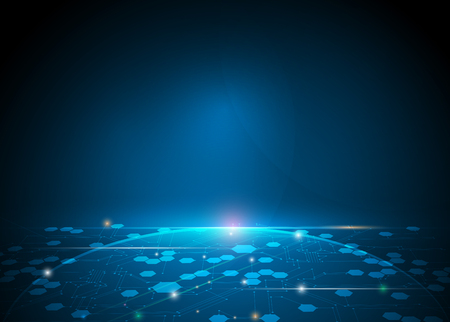 Resumen ilustración hexágonos futuristas y placa de circuito, la mejor tecnología informática, la comunicación concepto de innovación. Oscuro fondo de color azul Ilustración de vector