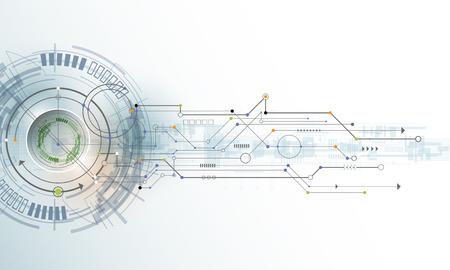 Abstract futuristic eyeball on circuit board, Illustration high computer technology on light color background. Hi-tech digital technology concept Illustration