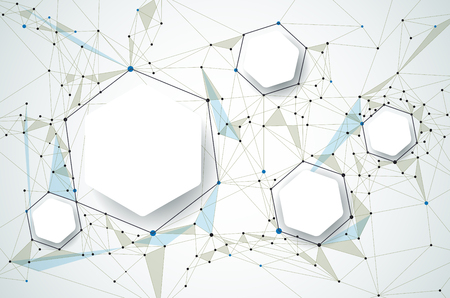 Abstract molecules with 3D paper and Polygonal on light gray color background. 3D paper Hexagon label with space for your content, business, network and web design. Communication social media technology concept Stock Illustratie
