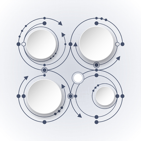 digitization: illustration abstract molecules with 3D paper label- integrated circles and space for your content, business, infographic template, network and web design. Light gray color background.
