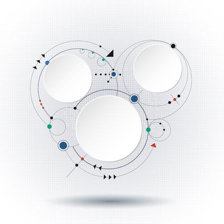 illustration molécules abstraites avec des cercles intégrés et un espace de papier 3D pour votre contenu, affaires, modèle infographique, le réseau et la conception web. Couleur de lumière sur fond gris