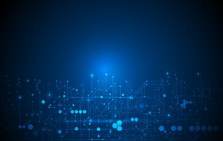 Carte de circuit futuriste abstraite, illustration haute technologie informatique fond de couleur bleu foncé. Concept de technologie numérique Hi-Tech