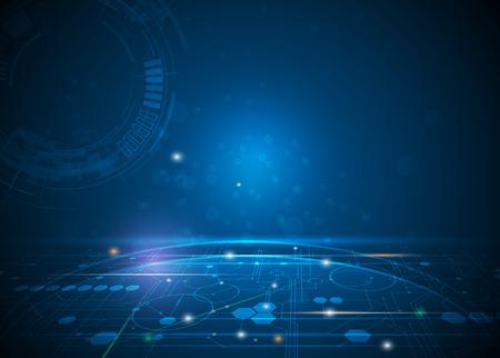 ilustracji Streszczenie futurystyczny sześciokąty i obwodami, wysokie technologie komputerowe, komunikacja koncepcji innowacji. Ciemnoniebieski kolor tła Ilustracje wektorowe