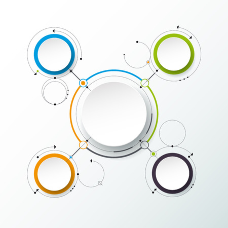 abstract molecules with 3D paper label, integrated circles. Blank space for content, business, infographic template, diagram, network, web design. Light gray color background. Social media connection technology concept