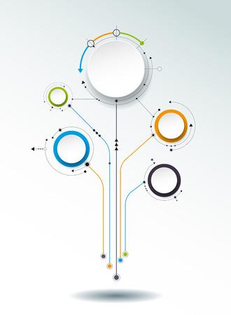 抽象的な分子、3 D ペーパー ラベル、統合円。空白のコンテンツ、ビジネス、インフォ グラフィック テンプレート、ダイアグラム、ネットワーク、w