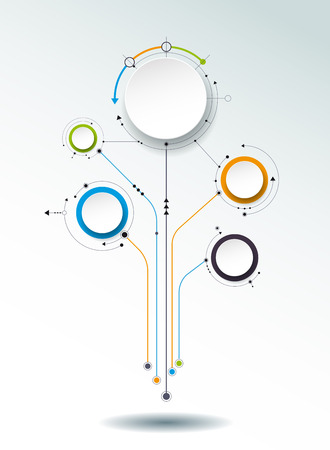 graphical chart: abstract molecules, 3D paper label, integrated circles. Blank space for content, business, infographic template, diagram, network, web design. Light gray background. Connection technology