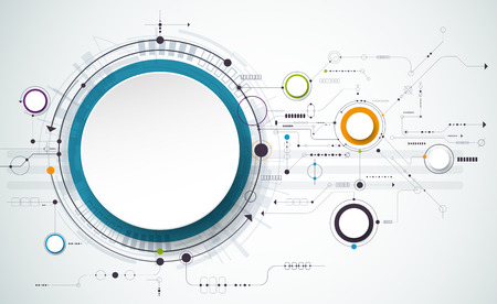 Abstract futuristic circuit board on light gray background, hi-tech digital technology concept. Blank white 3d paper circle label with space for your content, business, network and web design Illustration