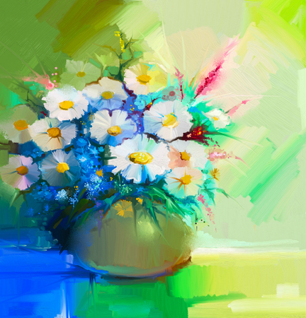 still life flowers: Abstract oil painting of spring flower. Still life of white gerbera, daisies, lilac, wildflowers. Colorful Bouquet flowers in vase. Hand Painted floral modern Impressionist style