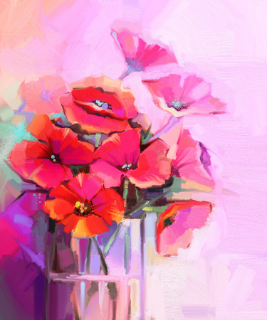 life style: Oil Painting - Still life of red and pink color flower. Colorful Bouquet of poppy flowers in glass vase. Red and pink color background. Hand Paint floral Impressionist style.