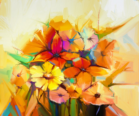 gerbera daisy: Abstract oil painting of spring flower. Still life of yellow, pink and red gerbera, daisy, daffodil. Colorful bouquet flowers with light yellow, background. Hand Painted floral Impressionist style Stock Photo