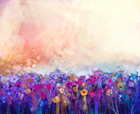 초록 꽃 수채화 그림입니다. 손으로 연한 노란색 배경에 부드러운 색상으로 노란색과 빨간색 꽃을 그렸습니다. 초원에서 추상 꽃 그림입니다. 봄 꽃 계