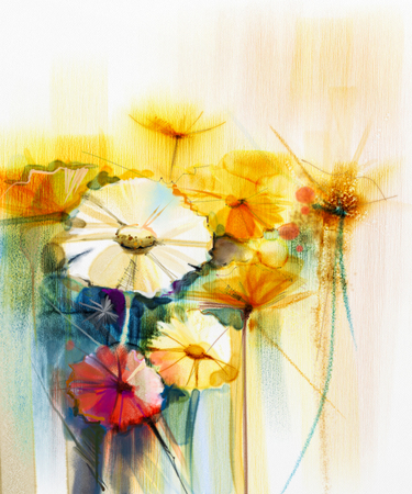 still life flowers: Abstract watercolor painting of spring flower. Still life of yellow, pink and red gerbera, daisy. Colorful bouquet flowers with light yellow, green, blue background. Hand Painted floral Impressionist Stock Photo