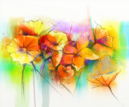 gerbera daisy: Abstract watercolor painting of spring flower. Still life of yellow, pink and red gerbera, daisy. Colorful bouquet flowers with light yellow, green, blue background. Hand Painted floral Impressionist Stock Photo