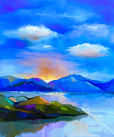 Abstract kleurrijk olieverfschilderijlandschap op canvas. Half abstract beeld van heuvel en zee met zonlicht en wolken blauwe hemel. Lente aard achtergrond