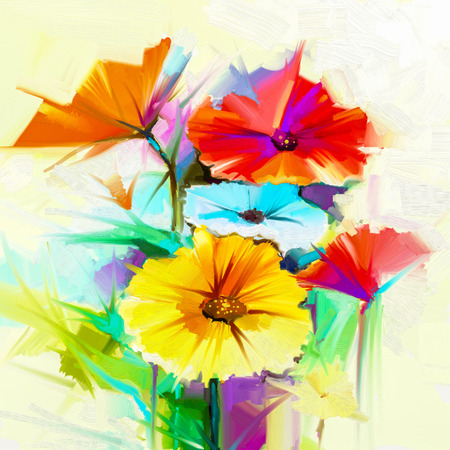 gerbera daisy: Abstract oil painting of spring flower. Still life of yellow, pink and red gerbera, daisy. Colorful bouquet flowers with light yellow, green, blue background. Hand Painted floral Impressionist style