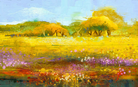 캔버스에 추상 다채로운 유화 풍경입니다. 나무와 필드의 반 추상적 인 이미지. 푸른 하늘이 노란색과 빨간색 야생화. 봄 시즌 자연 배경입니다.