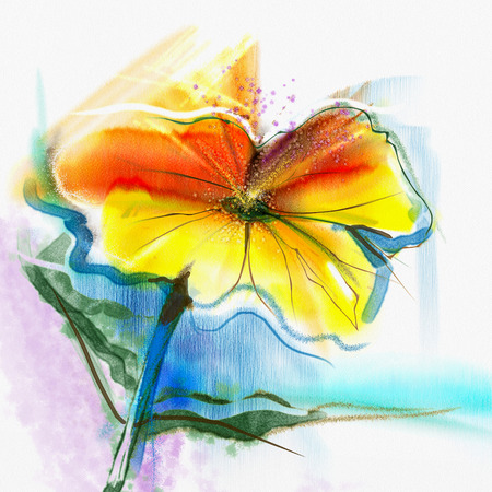 yellow daisy: Abstract flower watercolor painting. Hand paint still life of Yellow, Pink, Red color daisy- gerbera floral in soft color on white, blue, green color background. Spring flower nature background