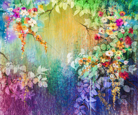 Abstract floral watercolor painting. Hand painted White, Yellow and Red flowers in soft color. Blue, green, purple color background. Ivy flowers in tree park. Spring flower seasonal nature background