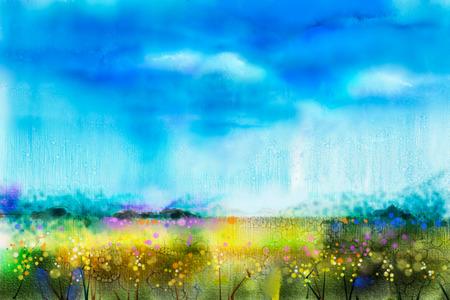 水彩画風景、野生の花、青い空。牧草地の野生の花の抽象的な塗料。手描きのフィールドに黄色と赤の花。春の花、季節の自然の背景 写真素材