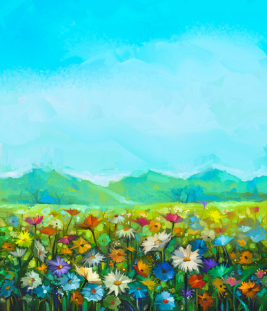 spring summer: Oil painting white, red, yellow daisy- gerbera flowers, wildflower in fields. Meadow landscape with wild flowers, hill and blue sky background. Hand Paint summer floral Impressionist style