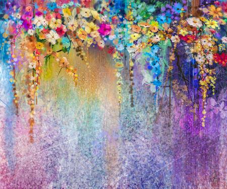 Abstrakte Blumenaquarellmalerei. Hand gemalt Weiß, Gelb und Rot Blumen in sanften Farben. Blau, grün, lila Farbe Hintergrund. Ivy Blumen in den Baumpark. Frühlingsblume saisonale Natur Hintergrund