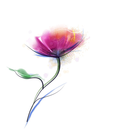 Vector watercolor painting purple cosmos flower on white paper background. Flower vector, red floral water color. Sketch flower paint in pastel colors. Painted watercolour flower background