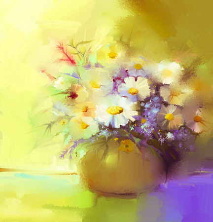 flowers in vase: Abstract oil painting of spring flower. Still life of white gerbera, daisies, lilac, wildflowers. Colorful Bouquet flowers in vase. Hand Painted floral modern Impressionist style.