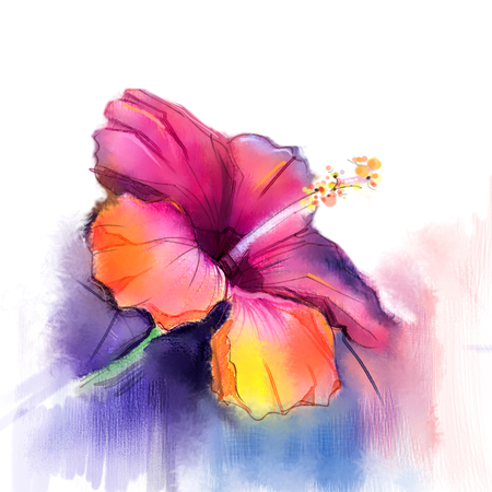red hibiscus flower: Abstract watercolor painting red Hibiscus flower on blue color background. Hand painted red floral water color. Sketch flower paint in pastel colors. Painted flower sketch.