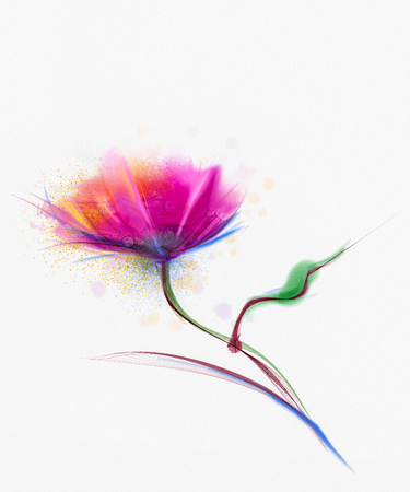 isolated flower: Watercolor painting poppy flower. Isolated flowers on white  paper background. Pink and red poppy flower painting. Hand painted watercolor floral, flower background Stock Photo