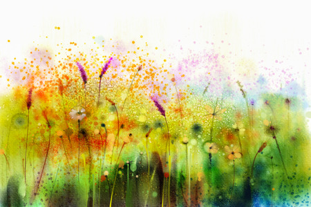 Abstract watercolor painting purple cosmos flower, violet lavender, white, orange wildflower. Wild flowers meadow, green field paintings. Hand painted floral in meadows. Spring field nature background.