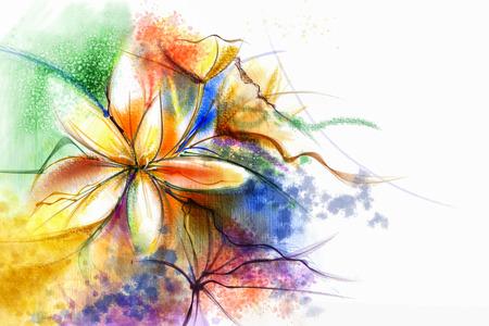 Abstrakte Blumenaquarellmalerei. Abstrakte bunte Aquarellbilder für den Hintergrund. Handgemalte Zusammensetzung Blumen in sanften Farben Hintergrund, Scenic Wasser Farbe Hintergrund Standard-Bild