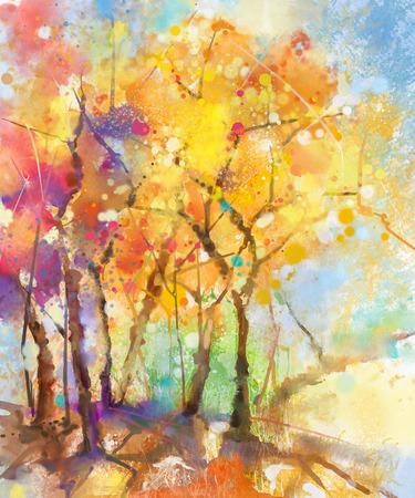 Waterverf die kleurrijk landschap schildert. Het semi-abstracte beeld van het waterverflandschap van boom in geel, oranje en rood met blauwe hemelachtergrond. Lente, zomer natuur aquarel achtergrond. Stockfoto