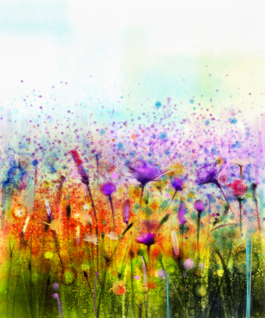 Abstrakte Aquarellmalerei lila Kosmosblume, Kornblume, violett Lavendel, weiß und orange Wildblumen. Wilde Blumen Wiese, grün Feldmalerei. Hand malen Blumen in Wiesen. Frühling Hintergrund. Standard-Bild