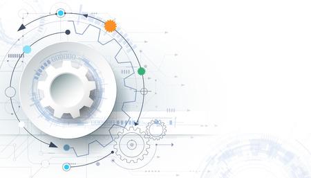Fondo de tecnología futurista, la rueda de engranaje blanca 3d documento sobre la tarjeta de circuito. Ilustración de alta tecnología, la ingeniería, el concepto de telecomunicaciones digitales. Con espacio para contenido, la plantilla web, presentación tecnología de negocios. Ilustración de vector
