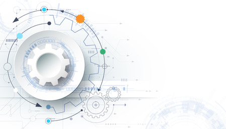futuristic technology background, 3d white paper gear wheel on circuit board. Illustration hi-tech, engineering, digital telecoms concept. With space for content, web template, business tech presentation. Illustration