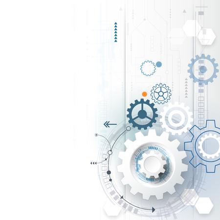 illustration gear wheel, hexagons, circuit board Abstract hi-tech technology and engineering background, digital telecom futuristic concept. Abstract futuristic technology on light blue color background Stock Illustratie