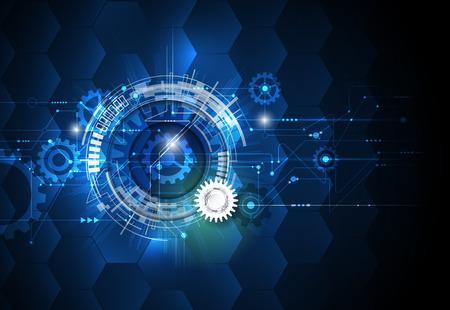 ilustración rueda de engranaje, hexágonos y la placa de circuito, la tecnología de alta tecnología digital y la ingeniería, la tecnología concepto de telecomunicaciones digitales. futurista abstracto en el fondo de color azul claro.