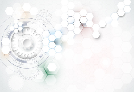 engineering and technology: illustration gear wheel, hexagons and circuit board, Hi-tech digital technology and engineering, digital telecom technology concept. Abstract futuristic on light blue color background.