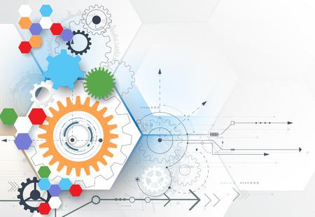alto: ilustración rueda de engranaje, hexágonos y la placa de circuito, la tecnología de alta tecnología digital y la ingeniería, la tecnología concepto de telecomunicaciones digitales. futurista abstracto en el fondo de color azul claro.