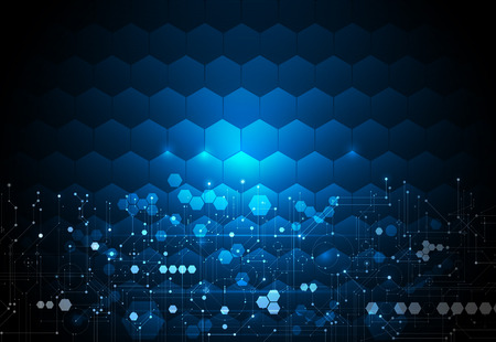 illustration circuit board on hexagons background. Hi-tech digital technology and engineering, digital telecom technology concept.