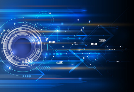 Abstract technology background with eyeball, circuit board, speed motion blur of light rays, arrow, stripe line on dark blue background. Hi-tech, science, futuristic, energy technology concept.